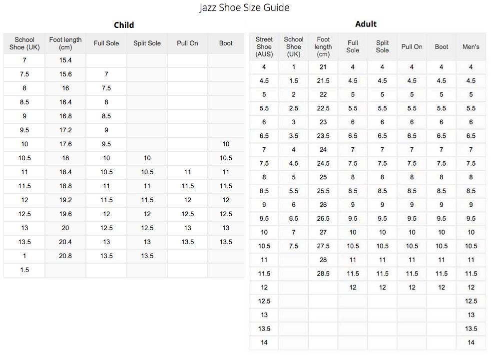 Energetiks Jazz Shoes Size Chart