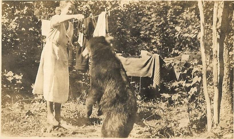 Vivian Feeding a Bear