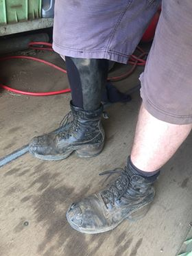 Michael in his Prime Boots from Springy Feet - showing his AFO