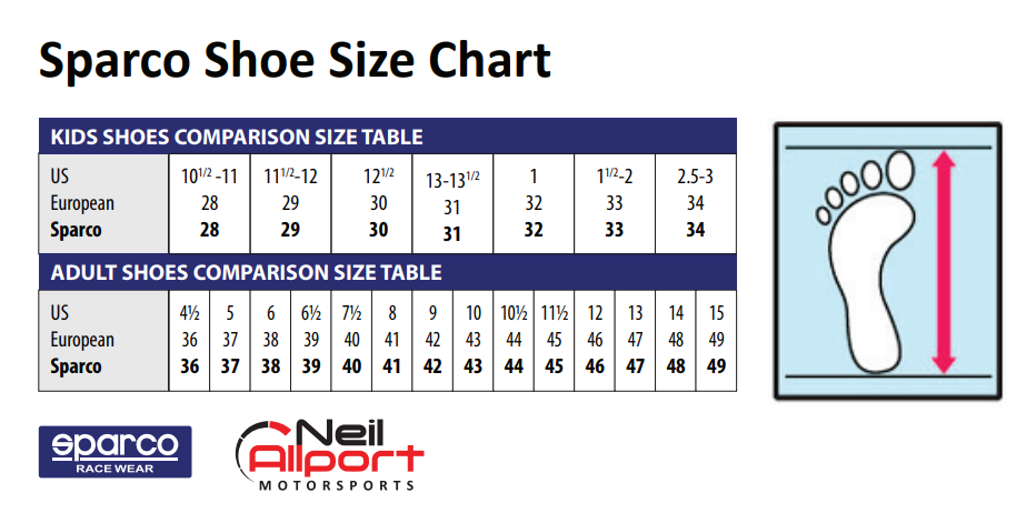 Sparco Shoe Size Chart Karts Parts Ltd