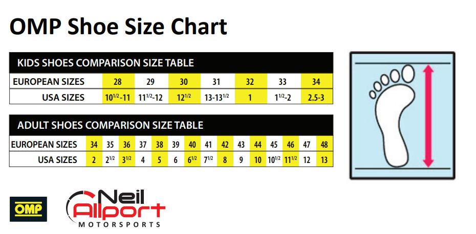 OMP Shoe Size Chart | KARTS & PARTS LTD