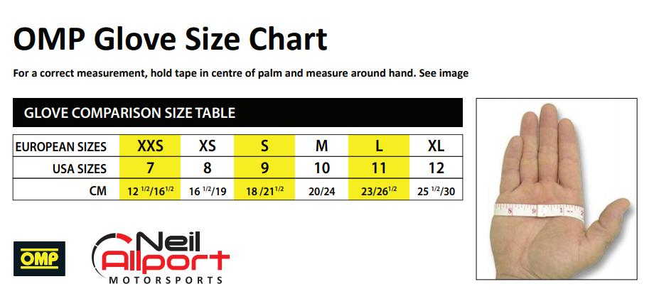 OMP Glove Size Chart   KARTS & PARTS LTD