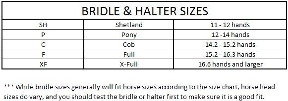 Size Charts Williams Tack And Feed
