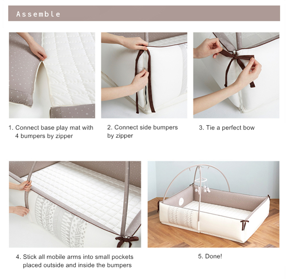 Creamhaus INUA bumper bed milk brown assemble